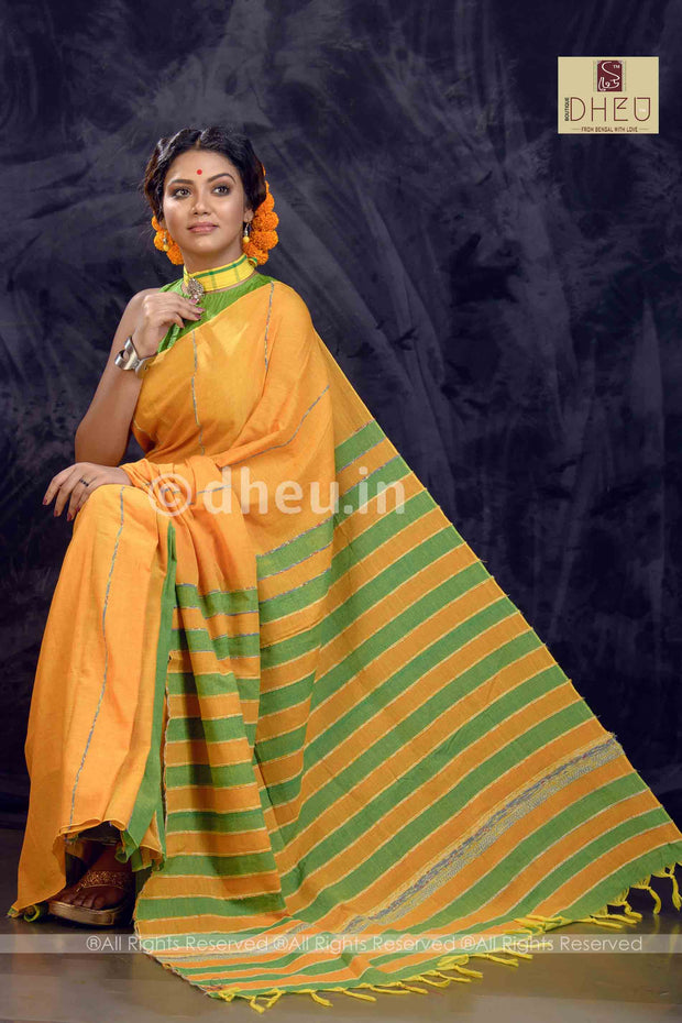 Yeppy Yellow- Handloom Pure Cotton Saree-Kurta Couple Set - Boutique Dheu
