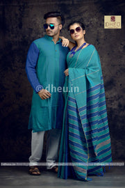 Tricky Turquise -Handloom Pure Cotton Saree-Kurta Couple Set - Boutique Dheu