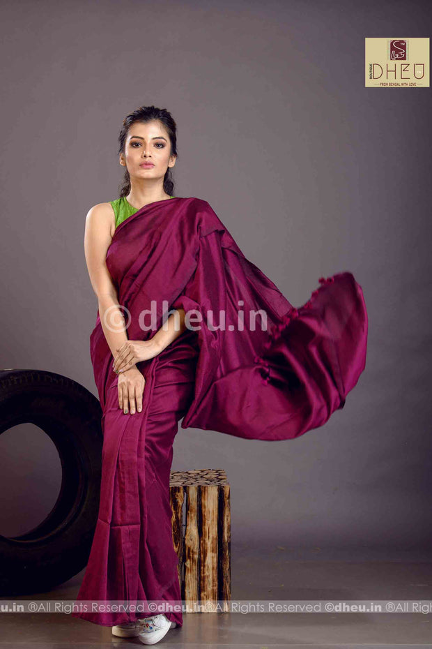 """Dheu Boutique ""Albeli – The Urban Drapes  Wine   Colur  saree"