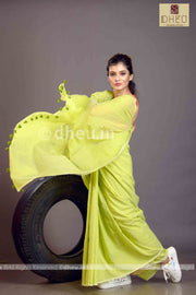 """Dheu Boutique ""Albeli – The Urban Drapes  Colur :   Lime Green  saree"