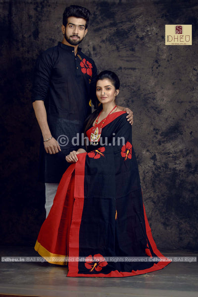 Joba Couple Set-Saree-Kurta - Boutique Dheu