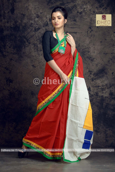 Red Applique-Dheu Exclusive Applique Saree - Boutique Dheu