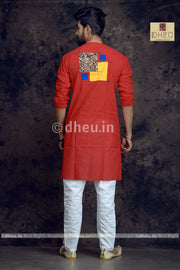 Red Couple-Handloom Pure Cotton Saree-Kurta Couple Set - Boutique Dheu