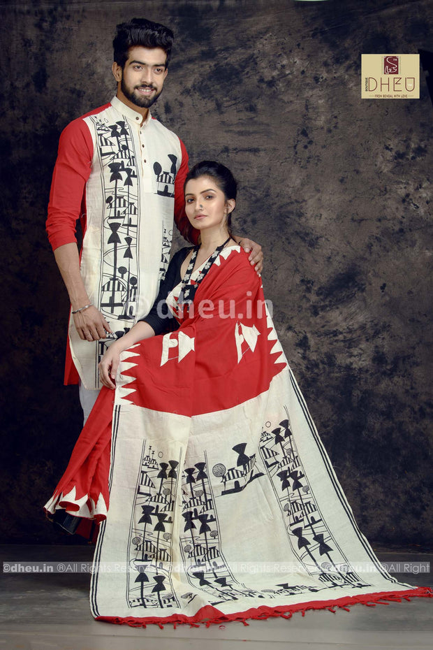 Dheu Boutique couple set,couple dress for men or women - Amader Choto Gram,White Red colour Kurta,saree for Men,Women