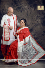 Macher Biye Full Couple Set-Saree-Kurta-Dhoti-Uttoriyo - Boutique Dheu