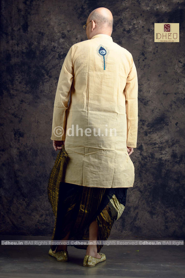 Handloom Designer Cotton Fusion Kurta for Men - Boutique Dheu
