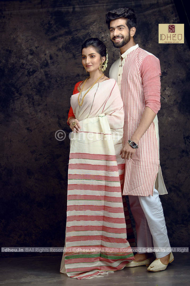 Wow White-Handloom Pure Cotton Saree-Kurta Couple Set - Boutique Dheu
