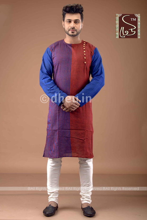 Red-Blue Cotton  Kurta for Men