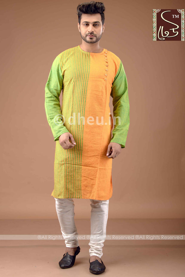 Mustard Yellow-Green Cotton  Kurta for Men
