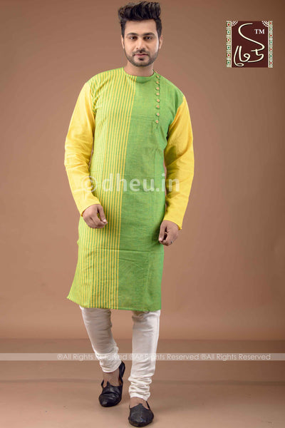 Green-Yellow Cotton  Kurta for Men