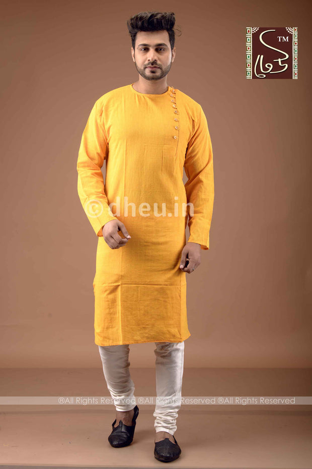 Yellow Cotton  Kurta for Men
