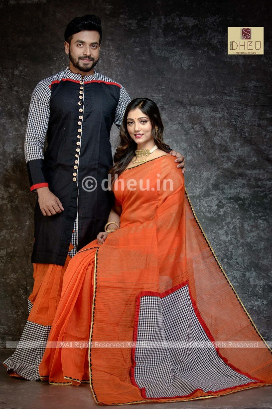 Premium Designer Saree-Kurta-Dhoti Couple Set