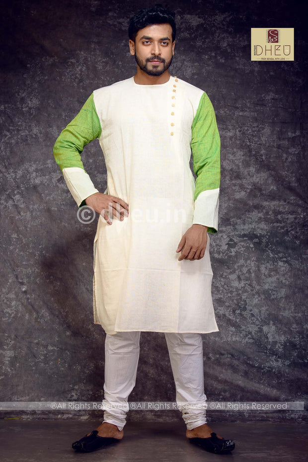 Designer Pure Cotton Side open Kurta for Men