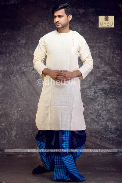 White Cotton  Kurta for Men