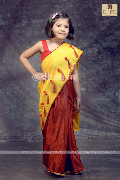 """Dheu Boutique ""Baby Girls' Saree  Yellow-Maroon Colour  saree"