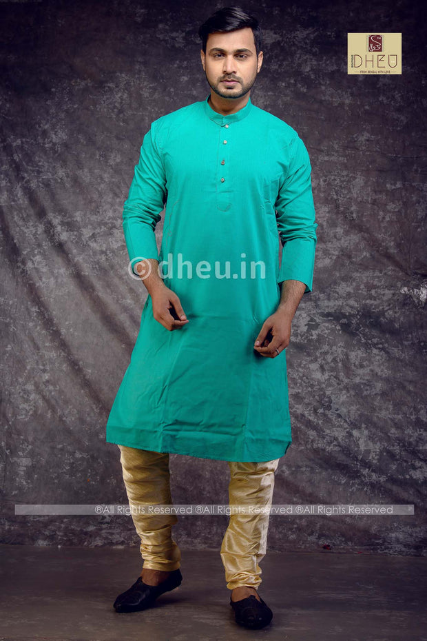 Sea Green Cotton  Kurta for Men - Boutique Dheu