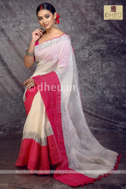 Rani-White Mahapar - Linen Saree - Boutique Dheu