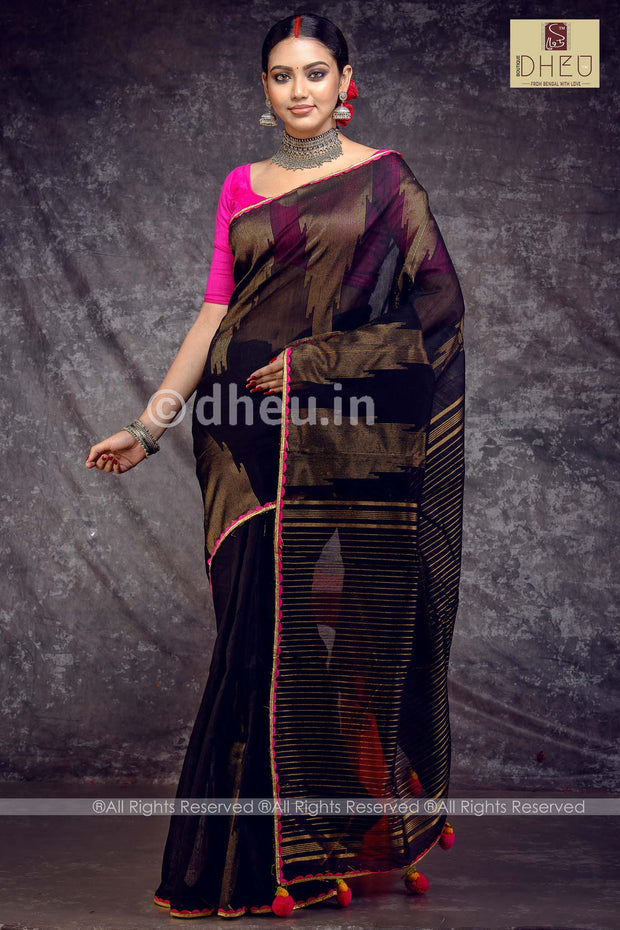 Dheu Exclusive-Cotton fusion-Designer saree