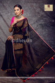 Dheu Exclusive-Cotton fusion-Designer saree - Boutique Dheu