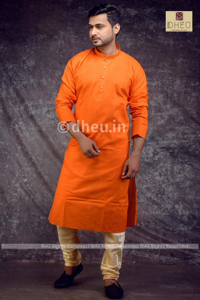 Orange Cotton  Kurta for Men