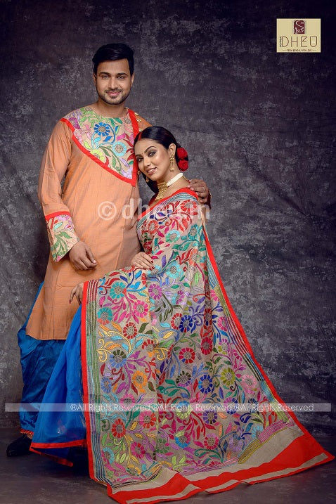 Premium Designer Kantha Saree-Kurta-Dhuti Couple Set