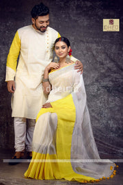 Loving linens- Handloom Linen Saree-Kurta Couple Set