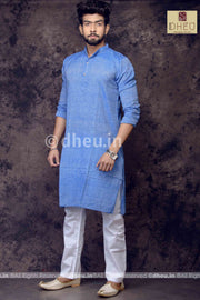 Sky Blue Pure Cotton kurta -Solid Colour - Boutique Dheu