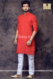 Red Pure Cotton kurta -Solid Colour