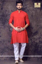 Red Pure Cotton kurta -Solid Colour - Boutique Dheu