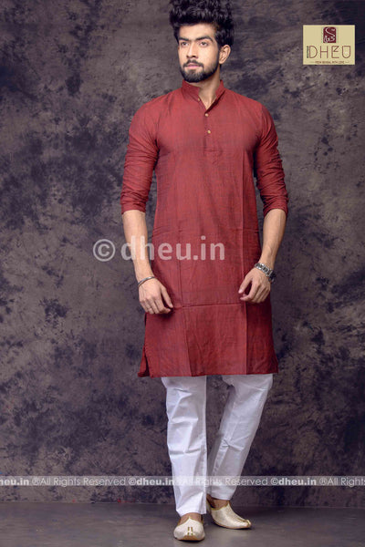 Maroon Pure Cotton kurta -Solid Colour