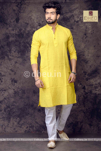 Yellow Pure Cotton kurta -Solid Colour