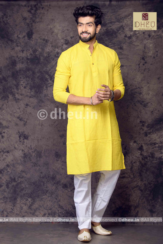 Yellow Pure Cotton kurta -Solid Colour - Boutique Dheu