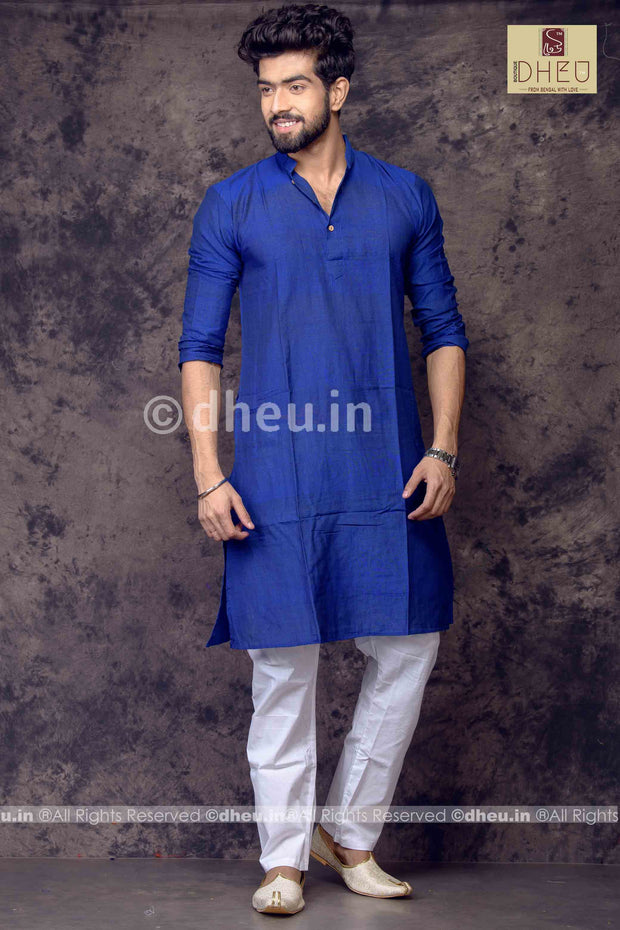 Blue Pure Cotton kurta -Solid Colour