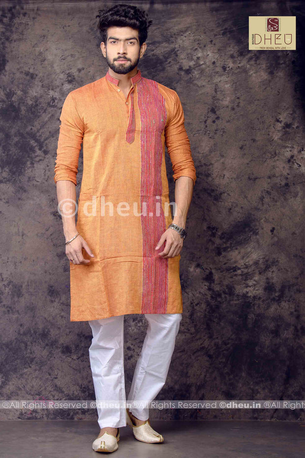 Orange Pure Cotton kurta with Khes Border