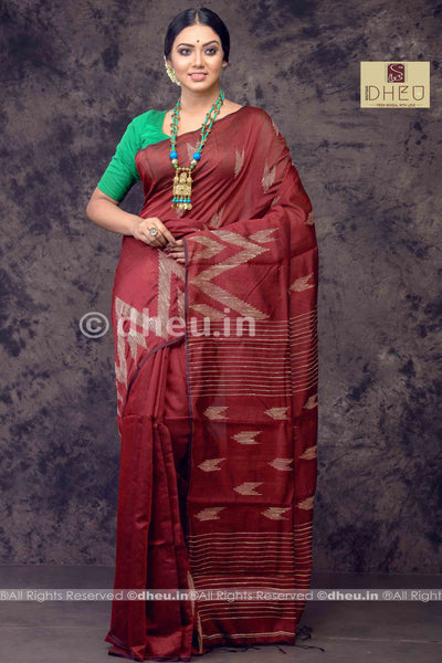 Maroon Handloom Silk Cotton Ghicha weaving - Boutique Dheu