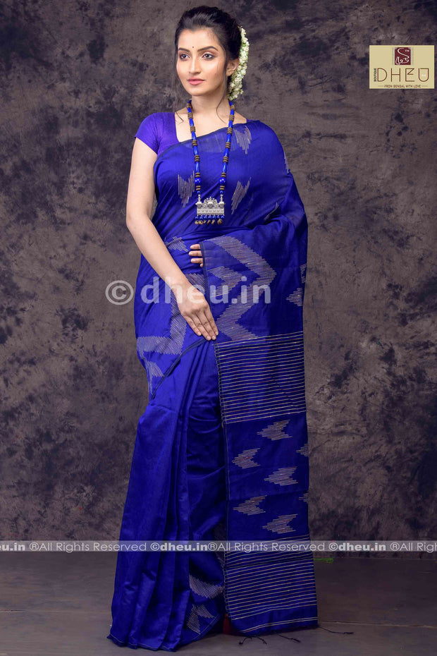 Blue  Handloom Silk Cotton Ghicha weaving - Boutique Dheu