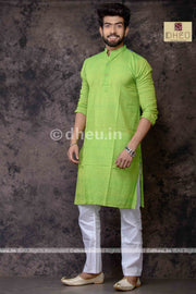 Fluroscent Green Pure Cotton kurta -Solid Colour - Boutique Dheu