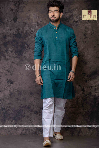 Peacock Green Pure Cotton kurta -Solid Colour - Boutique Dheu