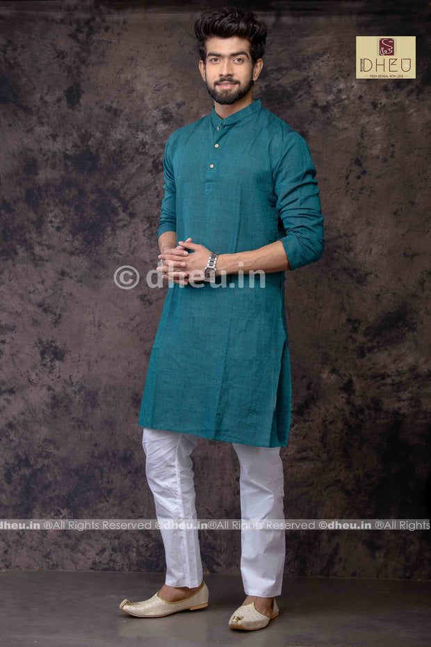 Peacock Green Pure Cotton kurta -Solid Colour