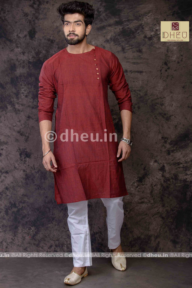 Maroon Cotton  Kurta for Men