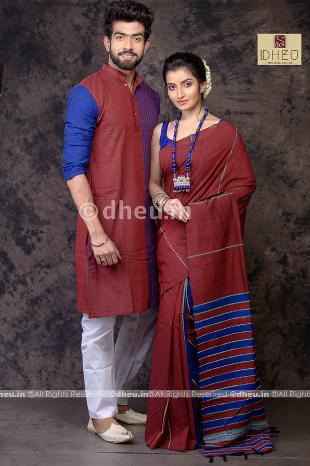 Madly Maroon- Handloom Pure Cotton Saree-Kurta Couple Set - Boutique Dheu
