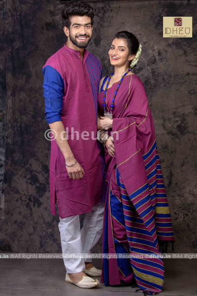 Magical Magenta- Handloom Pure Cotton Saree-Kurta Couple Set - Boutique Dheu