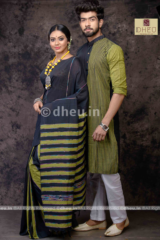 Black Magic- Handloom Pure Cotton Saree-Kurta Couple Set - Boutique Dheu