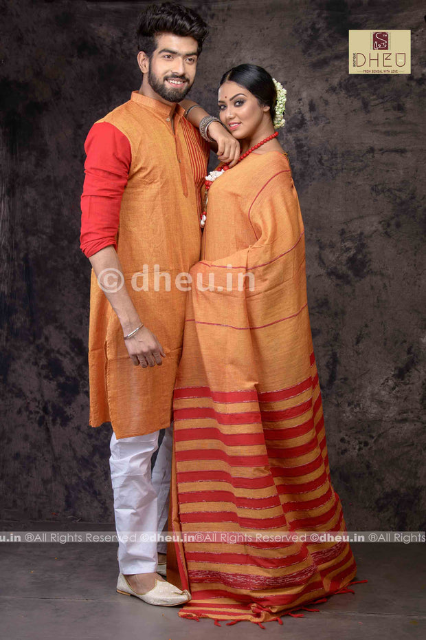 Orange love - Handloom Pure Cotton Saree-Kurta Couple Set - Boutique Dheu