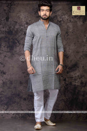 Grey Pure Cotton kurta -Solid Colour - Boutique Dheu