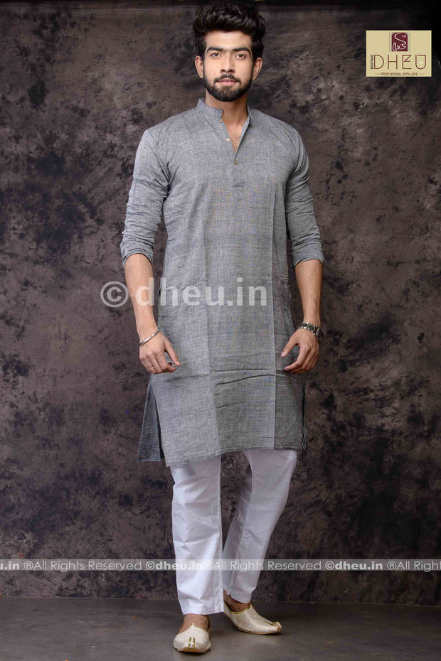 Grey Pure Cotton kurta -Solid Colour