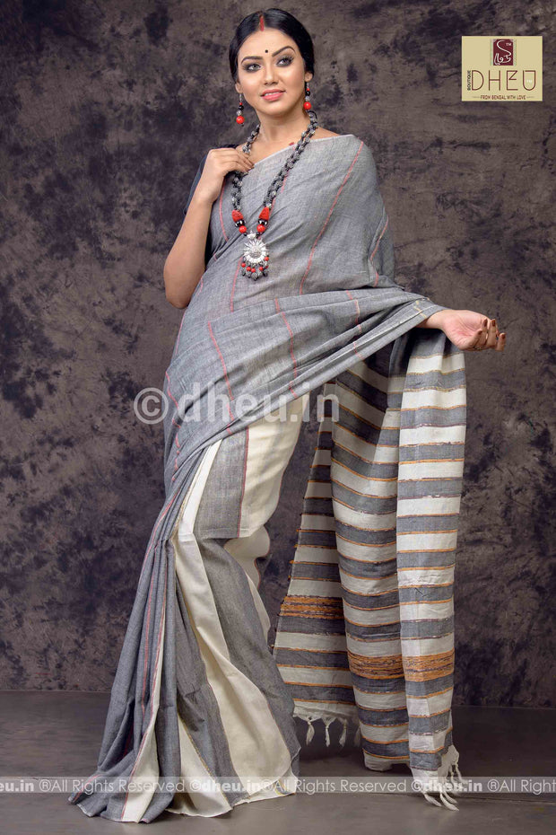 Gizmo Grey- Handloom Pure Cotton Saree-Kurta Couple Set
