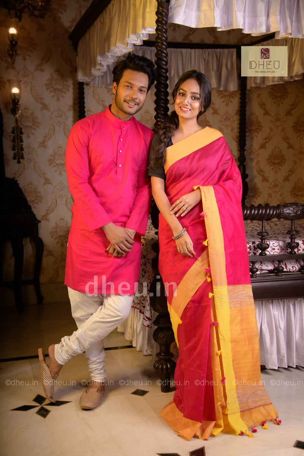Handloom Silk Saree-Kurta Couple Set - Boutique Dheu