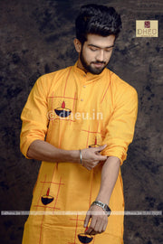 Diya-Handloom Cotton Applique kurta - Boutique Dheu