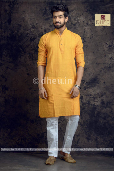 Mustard yellow Pure Cotton kurta -Solid Colour - Boutique Dheu
